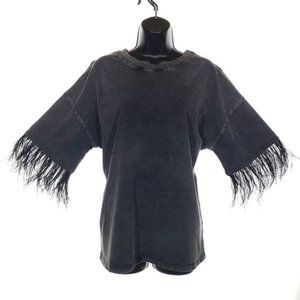 Honey Punch Oversize Goth T-Shirt Feather Sleeves